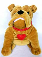 Buy Kellytoy Brown Bulldog Plush With Red Heart Stuffed Animal 2015 15""