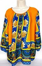 Buy CATO Womens Semi Sheer Peasant Blouse Top XL Boho Blue Orange Yellow Floral