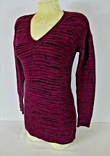 Buy ELLEN TRACY womens Small L/S purple black TEXTURED hi low stretch sweater (C4)