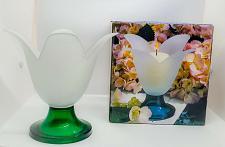 """Buy Studio Nova Candleholder Satin Glass Tulip Flower Green Base Portugal 6.75"""" Tall"""