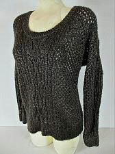 Buy APT 9 womens Medium L/S brown white CROCHET CABLE KNIT lightweight sweater (B7)