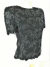 Buy Papell womens PS S/S black 100% SILK zip back fully BEADED lined top (H)