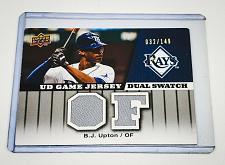 Buy MLB BJ UPTON TAMPA BAY RAYS 2009 UPPER DECK DUAL GAME WORN JERSEY MNT