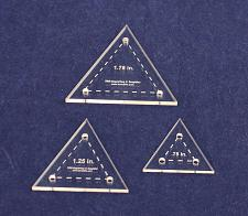 """Buy Triangle Template 3 Piece Set. .75-1.25-1.75 - Clear 1/8"""" Thick"""