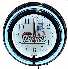 """Buy New England Patriots 13"""" Double Neon Wall Clock Sweep Movement Pull Chain Garage"""