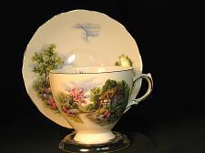 Buy Vintage Teacup and Saucer Royal Vale Fine Bone China Thatched Cottage Gilt Trim