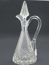 Buy Hand Cut glass handled decanter cross cut with stopper
