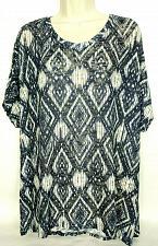 Buy CJ Banks Women's Tunic Sweater Size 2X Blue White Aztec Scoop Neck Short Sleeve