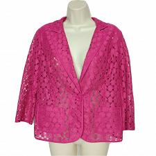 Buy Chicos Womens Blazer Size 1 Medium Pink Padded Shoulders Cutout Long Sleeve