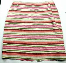 Buy Talbots Womens A Line Skirt Size 12 White Pink Green Striped Lined Back Zip