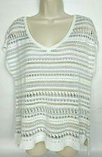 Buy WHBM Women's Sweater Vest Size Large White Striped Sparkly V Neck