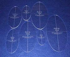 """Buy Oval Quilt Templates 7 Piece Set. 4""""to"""",10"""" - Clear 1/4"""" Thick w/ Guidelines"""
