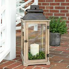 Buy Indoor Outdoor Large Rustic Wood Candle Lantern Porch Deck Entry Way Home Decor
