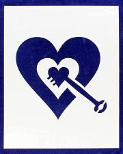"""Buy Heart with Key Stencil -Mylar 14 Mil 17.5""""H X 14""""W - Painting /Crafts/ Templates"""