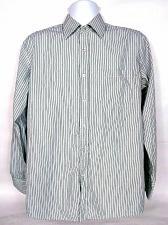 Buy Bogari Men's Dress Shirt Medium Striped Blue Black White Button Front Flip Cuff
