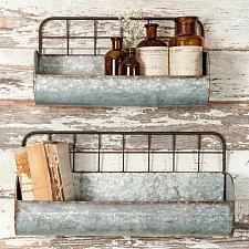 Buy 2 Hanging Wall Mounted Wire Wall Bin Basket Rustic Industrial Storage Organizer