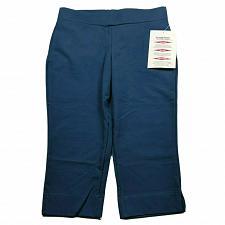 Buy Women with Control Petite Contour Waist Pull-On Capri Pants Size SP Blue