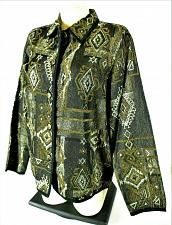 Buy New Direction womens Medium L/S gold black TAPESTRY jacket NWT (C3)