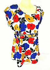 Buy MOTHERHOOD womens Large S/S gold red blue FLORAL 1/2 zip MATERNITY top (B4)