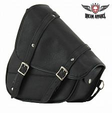 Buy Left Side Swing Arm Bag Black Leather Universal Fit Softails Sportsters Choppers