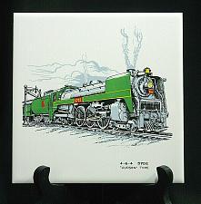 "Buy Vintage Train Railroad Railway Tile Trivet Plaque Employee Safety Award 6"" CN"