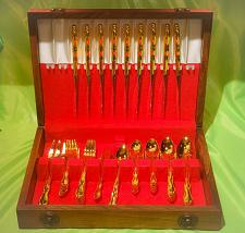 Buy Set of 67 1847 Rogers Brothers Gold Plated Silverware With Wood Box FREE SHIP!!