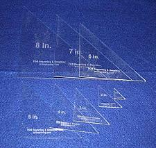 "Buy 8 Triangle Templates. 1"", 2"" 3"", 4"", 5"", 6"", 7"", 8"" No Seam - Clear 1/8"""