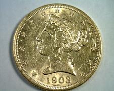 Buy 1903 FIVE DOLLAR LIBERTY GOLD CHOICE ABOUT UNCIRCULATED CH AU NICE ORIGINAL COIN