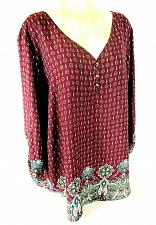 Buy Avenue womens 22/24 L/S purple blue white FLORAL roll sleeve TUNIC top (X)PMTD