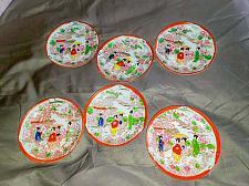 "Buy Vintage Set Of 6 Hand-painted Porcelain Japanese 5"" Serving Dishes"