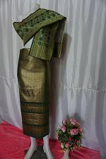 Buy Pine Green Thai Lanna Synthetic Silk sinh Skirt Pha Bieng Tailor to your size