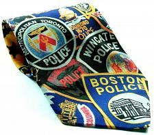 Buy Vintage Ralph Marlin Police Officer Patches Highway State Patrol Novelty Tie