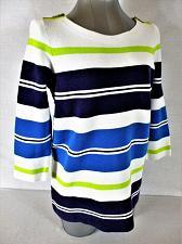 Buy LOFT womens Medium 3/4 sleeve purple blue yellow white STRIPED sweater (A5)P