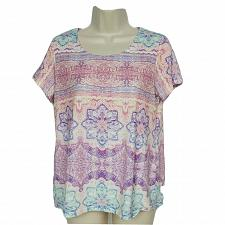Buy Chicos Womens Blouse Top Size 0P Aztec Print Pink Red Purple Scoop Neck
