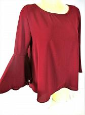 Buy Miami womens Large 3/4 BELL sleeve burgundy TIE back STRETCH top (G)PM