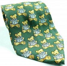 Buy Teddy Bear Reading Newspaper All Over Print Brown Green Novelty Silk Tie