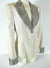 Buy Gantos womens Sz 6 L/S beige w subtle PAISLEY print & LACE accents jacket (B9)