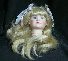 """Buy Vintage Bisque Porcelain Doll Head Flange Style 4 1/2"""" tall Blond Hair Blue Eyes"""
