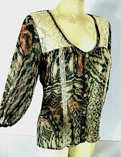 Buy LOVE SQUARED womens 3/4 sleeve black ivory tan LACE accents HI LO sheer top (J)