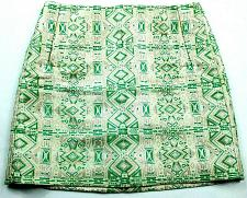 Buy J Crew A Line Jacquard Skirt Size 00 Green White Metallic Back Zip Pockets