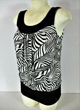Buy IZ BYER womens Small sleeveless black white ANIMAL PRINT stretch top (V)