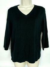 Buy Chico's Women's Blouse Top Size 1 Medium Solid Black 3/4 Sleeve V Neck