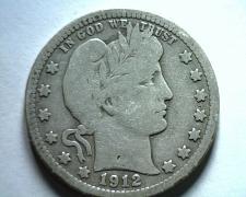 Buy 1912 BARBER QUARTER DOLLAR VERY GOOD VG NICE ORIGINAL COIN BOBS COIN FAST SHIP