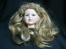 """Buy Vintage Bisque Porcelain Doll Head Flange Style 4"""" tall Blonde Hair Blue Green"""