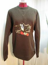 Buy Snowboarder Embroidered Brown Fleece Pullover Sweater Size M