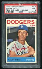 Buy 2013 TOPPS HERITAGE REAL ONE RED AUTO MAURY WILLS PSA 9 MINT (25397250)