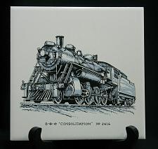 "Buy Vintage Train Railroad Railway Tile Trivet Plaque Safety Award 6"" Consolidation"