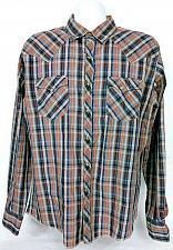 Buy Wrangler Men's Western Pearl Snap Shirt Large Plaid Long Sleeve Beige Blue