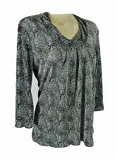 Buy CHRISTOPHER & BANKS womens Medium 3/4 sleeve black gray SEQUINED stretch top (R)