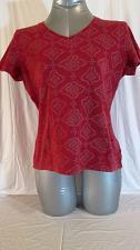 Buy CROFT & BARROW womens Small CAP SLEEVE BURGUNDY GRAY V NECK TOP BLOUSE (D)